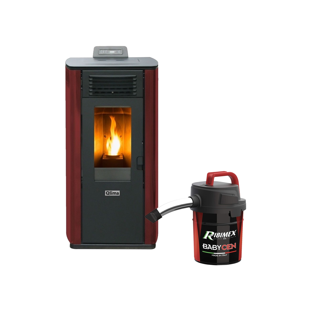 Qlima Fiorina 90 S-LINE Red Pellet stove 10.1 kW