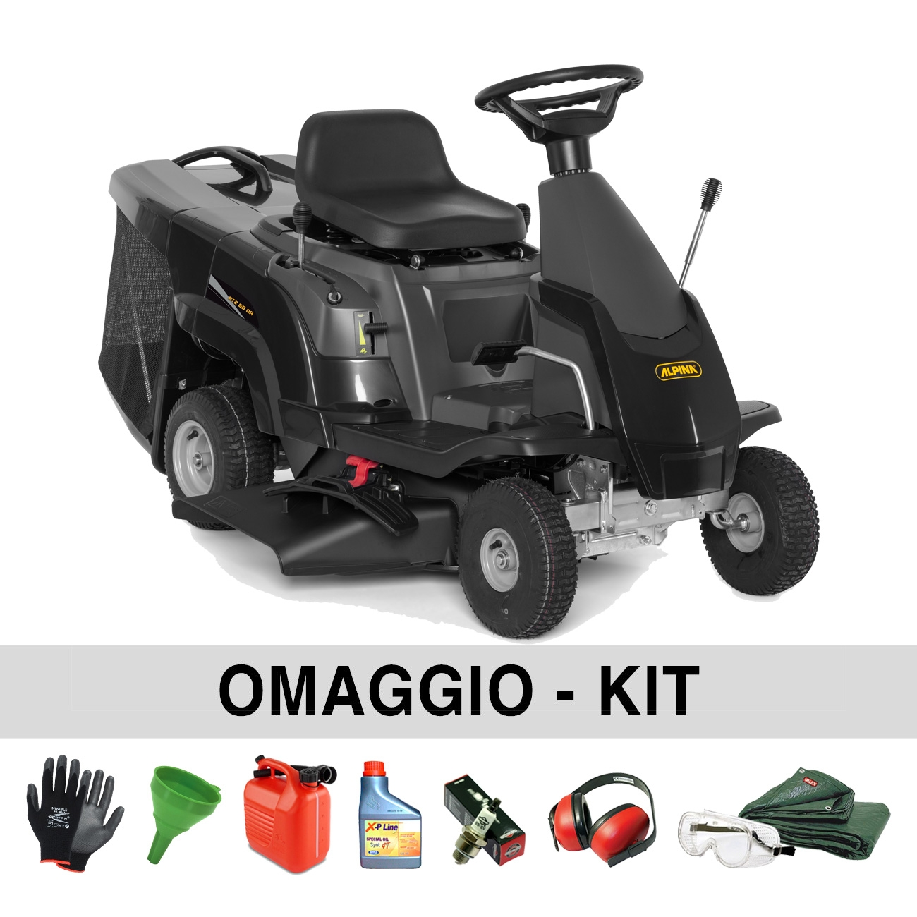 Alpina AT2 66 QA Rider Lawn Mower with collection basket